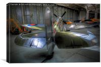 Spitfire MH434 Hangar Duxford 2, Canvas Print