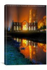 Fountains Abbey Yorkshire Floodlit - 1, Canvas Print
