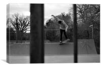 Nose Grind Mini Ramp Skateboarding, Canvas Print