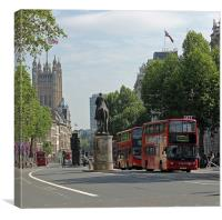 Red London bus in Whitehall, Canvas Print