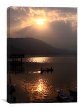 Phewa Lake Sunset - Nepal, Canvas Print
