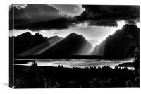 Grand Teton Light Beams, Canvas Print