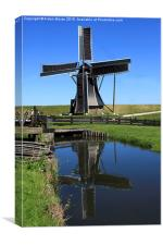 Windmill Reflection In A Pond , Canvas Print