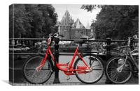 Red Bicycle By The Canal , Canvas Print
