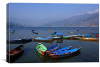 Boats On Phewa Lake, Pokhara, Nepal , Canvas Print