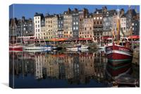 Honfleur Harbour Reflections , Canvas Print