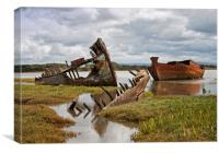 Wyre wrecks in water, Canvas Print