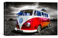 Red split screen VW camper van, Canvas Print