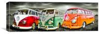 VW camper van trio, Canvas Print