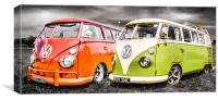 VW camper van duo, Canvas Print