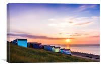 Beach Huts at Sunset, Canvas Print