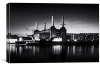 Battersea Power Station in monochrome, Canvas Print