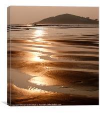 Bantham Beach Sunset ii, Canvas Print