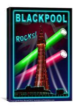 Blackpool Rocks Neon Blue, Canvas Print