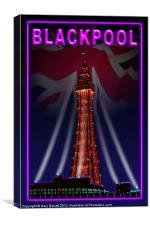 Blackpool Tower Violet Neon, Canvas Print