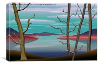 Spring Trees On a Lake., Canvas Print
