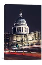 St Pauls Cathedral Light Streaks, Canvas Print