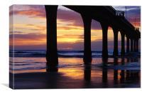 Sunrise New Brighton Pier, New Zealand, Canvas Print