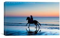 Silhouette of Horse and rider on Beach at sunset, Canvas Print