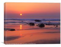 Widemouth Bay, Cornwall.  Sunset , Canvas Print