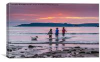 Bothers having fun in the sea at Bovisands, Plymou, Canvas Print