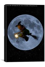 Flying Witch at full moon, Canvas Print