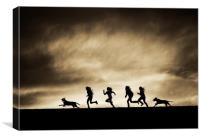 Silhouettes of running Girls and Dogs , Canvas Print