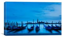 Moving Gondolas  at Twilight, Venice., Canvas Print