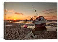 SUNSET ON MEOLS BEACH, Canvas Print