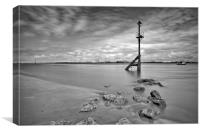TIDE OUTBOUND ( ON THE RIVER MERSEY ), Canvas Print