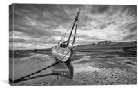 B+W BOATS ON THE ESTUARY, Canvas Print