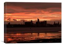 LIVERPOOL SKYLINE ( Sunrise Silhouette ), Canvas Print