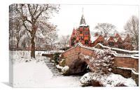 """""""PORT SUNLIGHT the Dell (Winter scene), Canvas Print"""