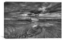 """CATCHING THE LIGHT Pt1 (Mono Version) (Boats on t, Canvas Print"