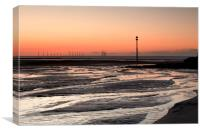 """Wind Turbines at Sea"" (Sunset), Canvas Print"