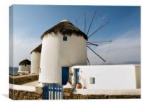 """Mykonos Windmills"" Greece, Canvas Print"