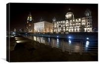 The Three Graces Liverpool Skyline, Canvas Print