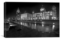 """The Three Graces Liverpool"", Canvas Print"