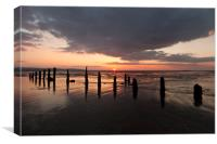 """Sunset"" (Groynes on Caldy Beach), Canvas Print"