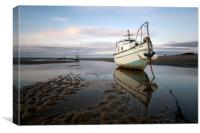 """Boats on Meols Shore"", Canvas Print"