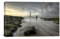 Wet Feet at Perch Rock Lighthouse, Canvas Print