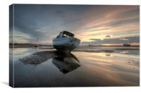 """Boats at Sunset"" (Meols Estuary), Canvas Print"