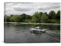 Speed Boating on the River Trent, Canvas Print