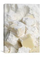 Butter cubes in plain flour, Canvas Print