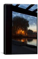 Sunset at sandford lock, Canvas Print