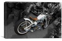 White Harley Custom, Canvas Print