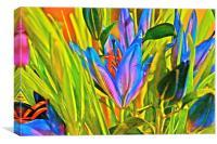 Cocktail Lily flower arrangement, Canvas Print