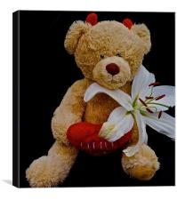 Little Devil Lily Teddy Bear, Canvas Print