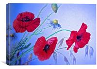Wild Poppy Drawing Effect Photograph, Canvas Print