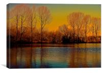 Trees across the lake, Autumn Colours             , Canvas Print